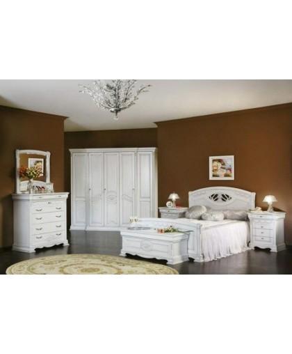 Спальня Лаура, белый с перламутровой патиной