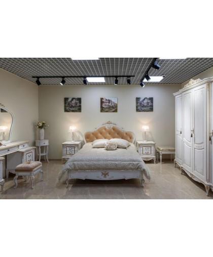 Спальня Барокко, белый с золотой патиной
