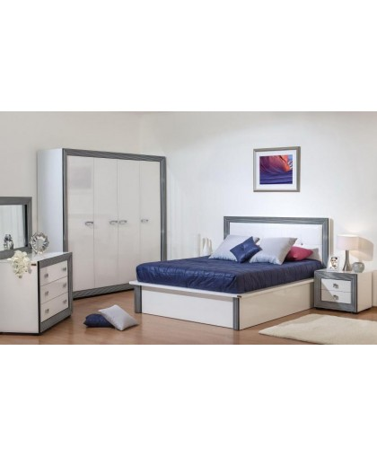 Спальня Даймонд Наоми, белый/металлик/глянец