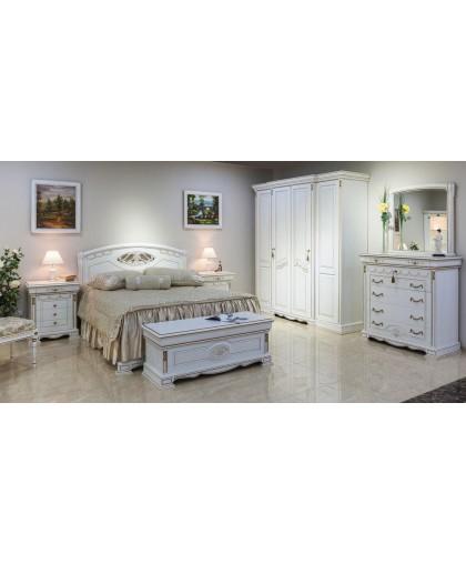Спальня Лаура, белый с золотой патиной