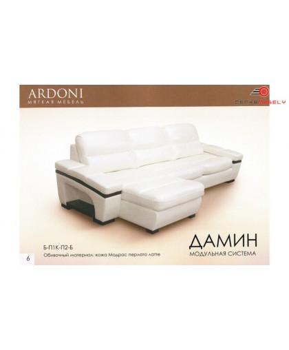 Угловой кожаный диван Дамин